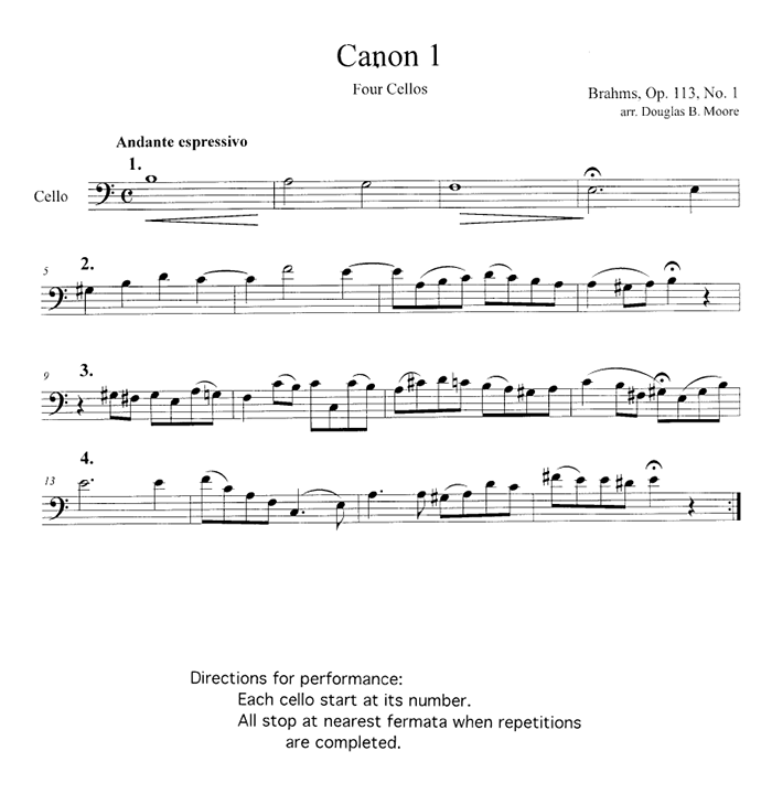 Brahms: 7 Canons in Bass Clef, for 3 or 4 celli