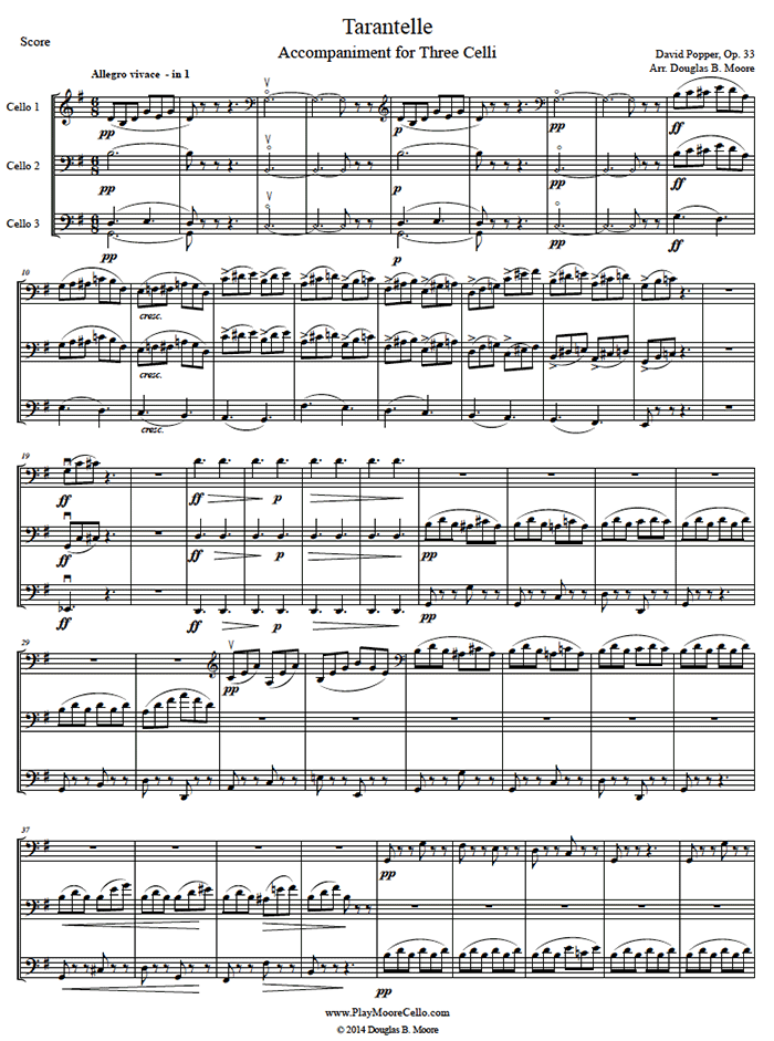 4 Celli.  The entire piano accompaniment is arranged for 3 celli. All three parts include material that is easy to intermediate.  Score and 3 parts; solo part is not included. This arrangement was commissioned by Amit Peled and his YouTube video performa