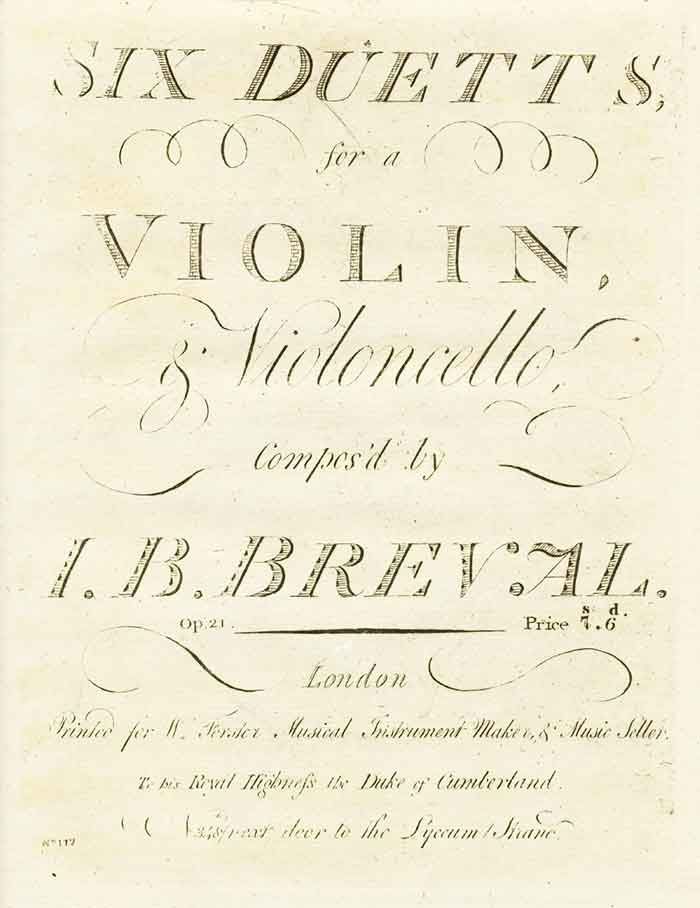 Bréval: Duett for Violin and Cello, Op. 21, No. 4 inF Major
