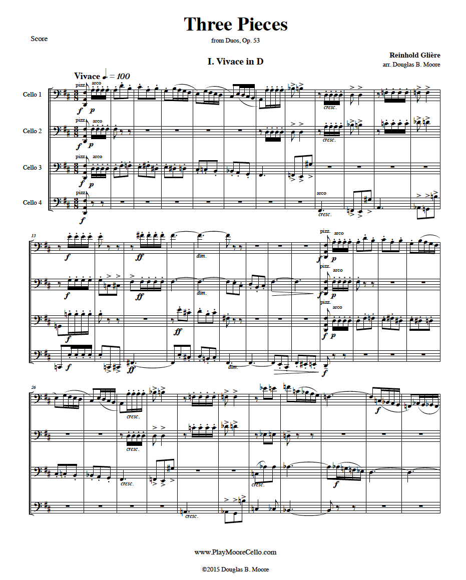 Glière: Three Pieces, from Duos, Op. 53, for 4 celli