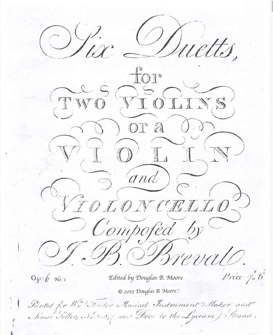 Bréval: Duetto for Two Violins or Violin and Cello, Op. 6, No. 1 in G Major.