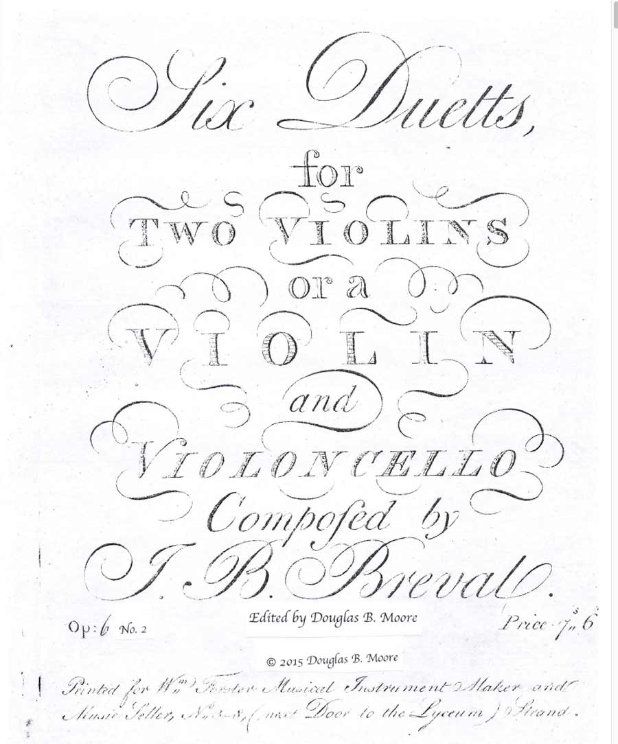 Bréval: Duetto for Two Violins or Violin and Cello, Op. 6, No. 2 in C Major