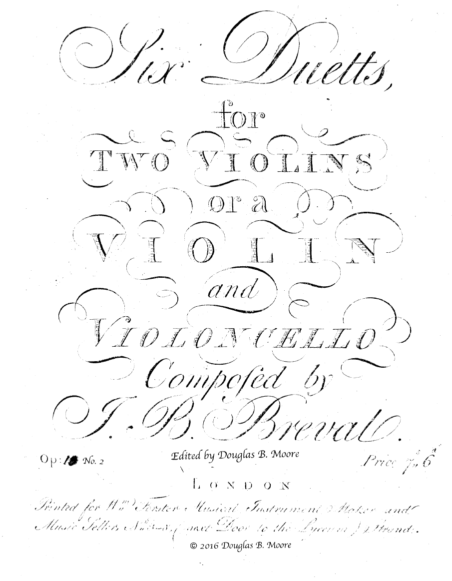 Bréval: Duetto in F Major for Two Violins or Violin and Cello, Op. 10, No. 2