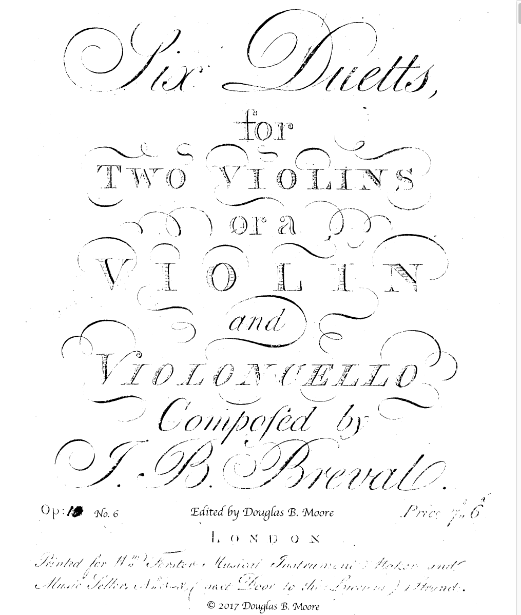 Bréval: Duett for 2 Violins or Violin and Cello, Op. 10, No. 6 in A Major