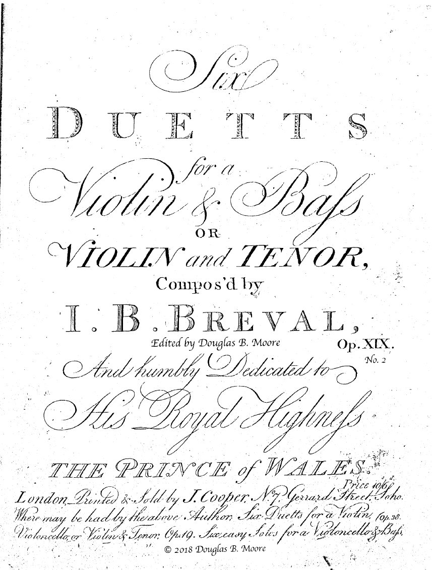 Bréval: Duett for Violin and Viola, Op. 19, No. 2 in G Major