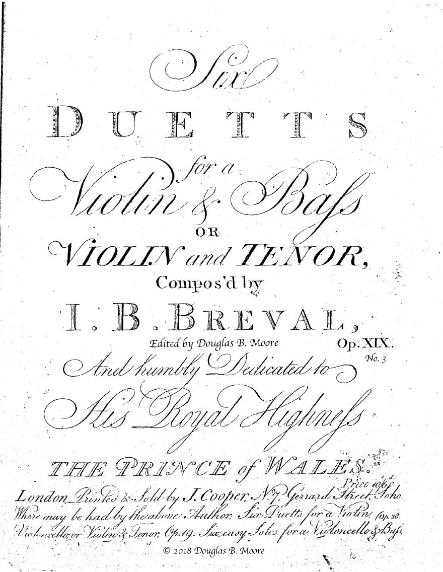 Bréval: Duett for Violin and Viola, Op. 19, No. 3 in D Major